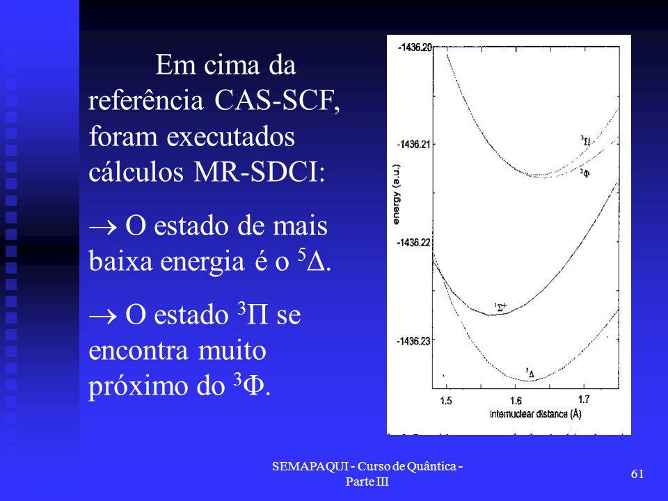 SEMAPAQUI - Curso de Quântica - Parte III 61 Em cima da referência CAS-SCF, foram executados cálculos MR-SDCI:  O estado de mais baixa energia é o 5 ∆.