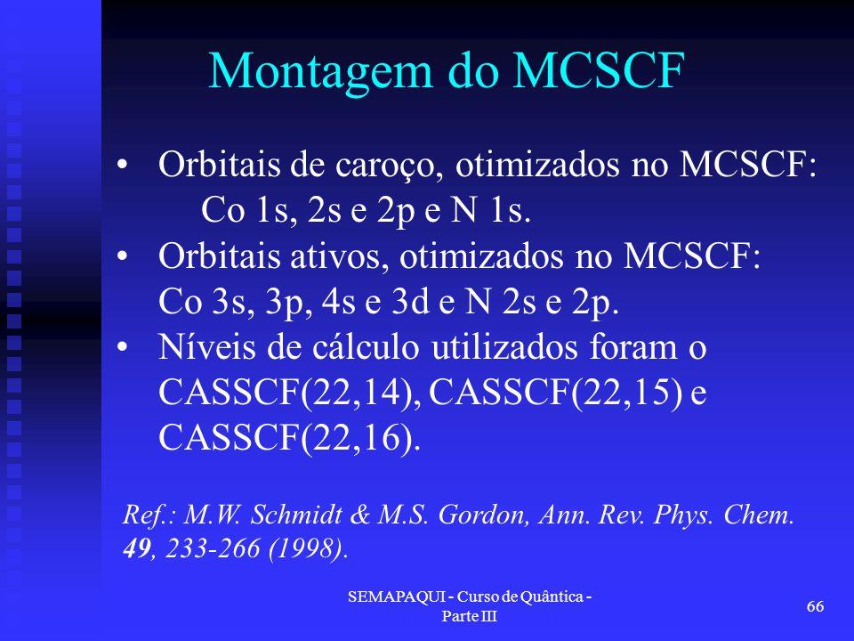 SEMAPAQUI - Curso de Quântica - Parte III 66 Montagem do MCSCF Ref.: M.W. Schmidt & M.S. Gordon, Ann. Rev. Phys. Chem. 49, 233-266 (1998). Orbitais de