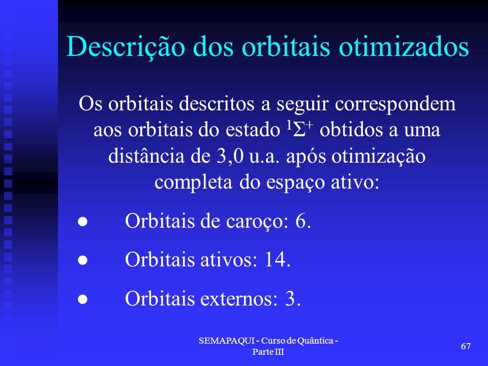 SEMAPAQUI - Curso de Quântica - Parte III 67 Descrição dos orbitais otimizados Os orbitais descritos a seguir correspondem aos orbitais do estado 1 Σ + obtidos a uma distância de 3,0 u.a.