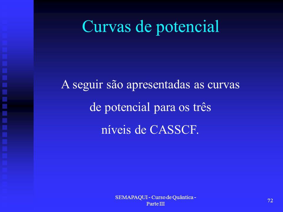 SEMAPAQUI - Curso de Quântica - Parte III 72 Curvas de potencial A seguir são apresentadas as curvas de potencial para os três níveis de CASSCF.