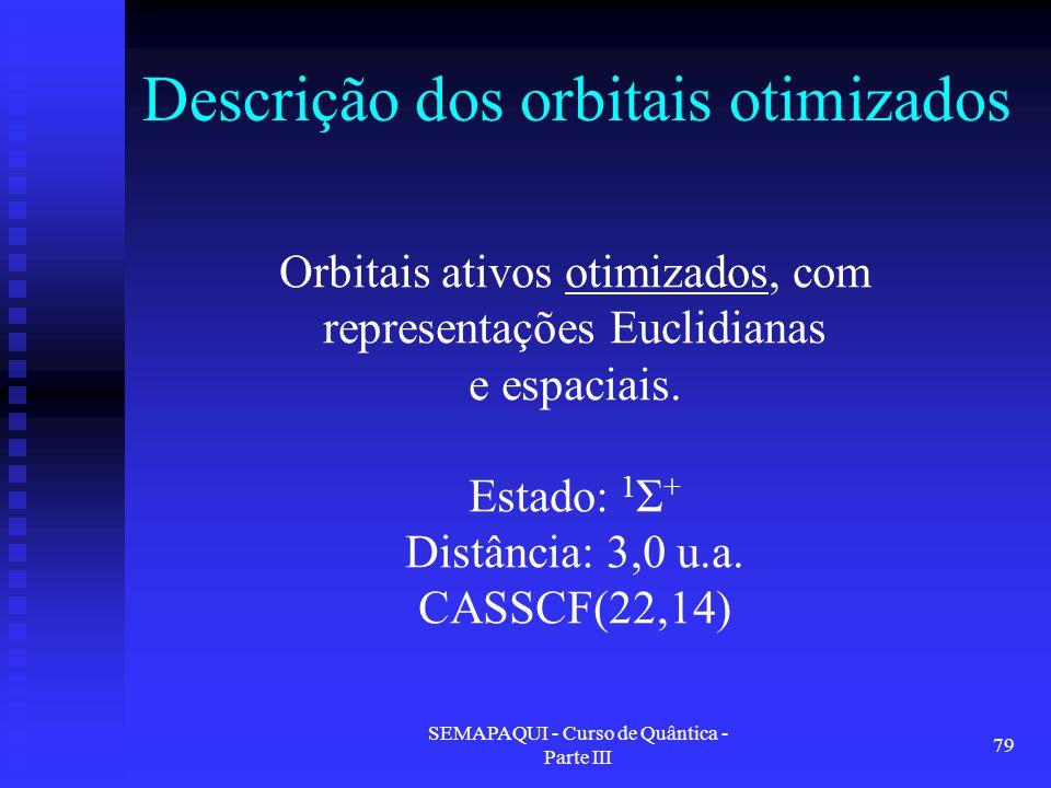 SEMAPAQUI - Curso de Quântica - Parte III 79 Descrição dos orbitais otimizados Orbitais ativos otimizados, com representações Euclidianas e espaciais.