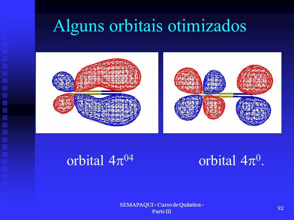 SEMAPAQUI - Curso de Quântica - Parte III 92 Alguns orbitais otimizados orbital 4  0.orbital 4  04