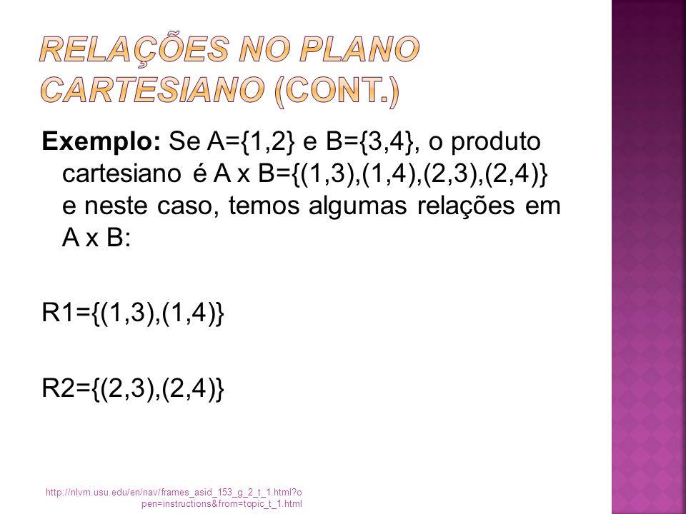 Exemplo: Se A={1,2} e B={3,4}, o produto cartesiano é A x B={(1,3),(1,4),(2,3),(2,4)} e neste caso, temos algumas relações em A x B: R1={(1,3),(1,4)} R2={(2,3),(2,4)} http://nlvm.usu.edu/en/nav/frames_asid_153_g_2_t_1.html?o pen=instructions&from=topic_t_1.html