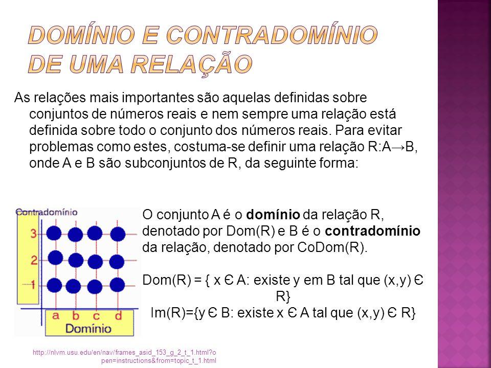 As relações mais importantes são aquelas definidas sobre conjuntos de números reais e nem sempre uma relação está definida sobre todo o conjunto dos números reais.