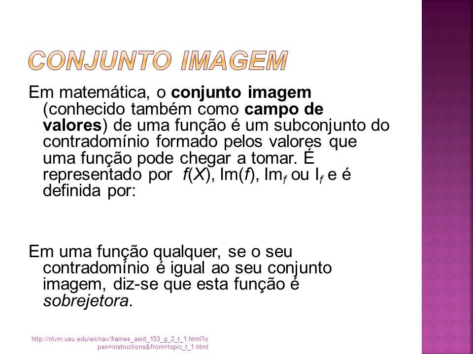 Em matemática, o conjunto imagem (conhecido também como campo de valores) de uma função é um subconjunto do contradomínio formado pelos valores que uma função pode chegar a tomar.