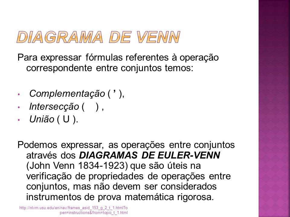 Para expressar fórmulas referentes à operação correspondente entre conjuntos temos: Complementação ( ' ), Intersecção ( ), União ( U ).