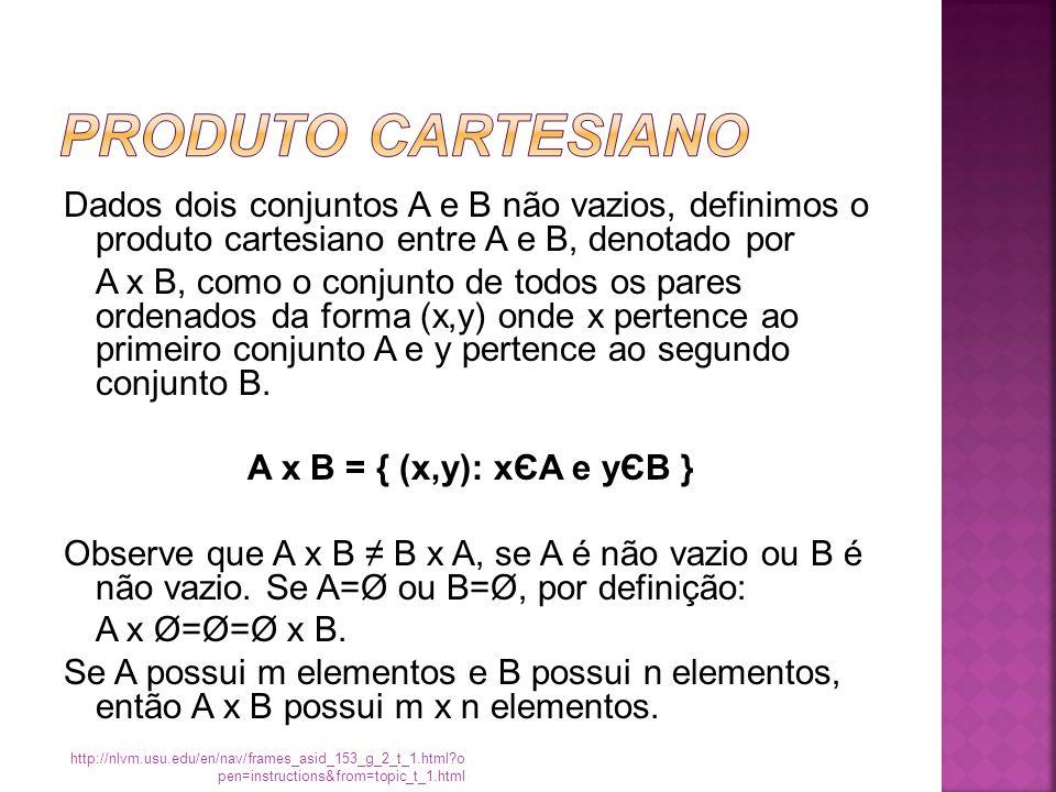 Dados dois conjuntos A e B não vazios, definimos o produto cartesiano entre A e B, denotado por A x B, como o conjunto de todos os pares ordenados da forma (x,y) onde x pertence ao primeiro conjunto A e y pertence ao segundo conjunto B.