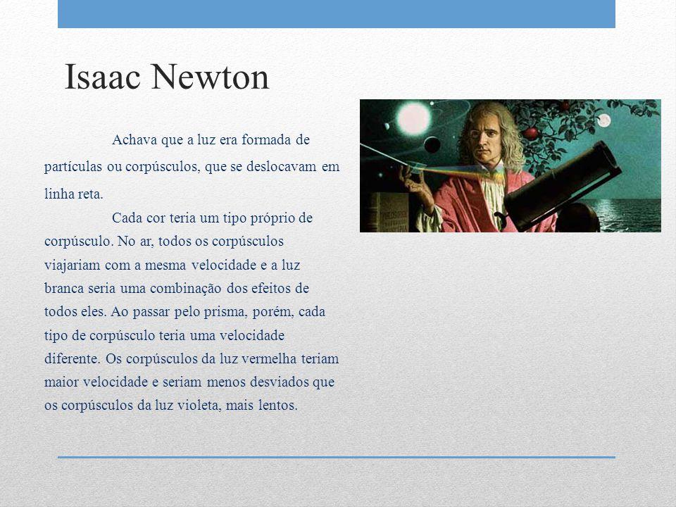 Isaac Newton Achava que a luz era formada de partículas ou corpúsculos, que se deslocavam em linha reta. Cada cor teria um tipo próprio de corpúsculo.