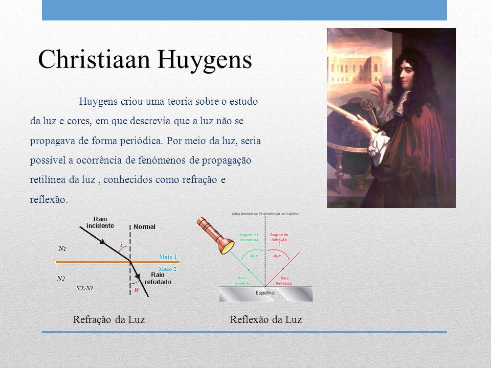 Christiaan Huygens Huygens criou uma teoria sobre o estudo da luz e cores, em que descrevia que a luz não se propagava de forma periódica. Por meio da