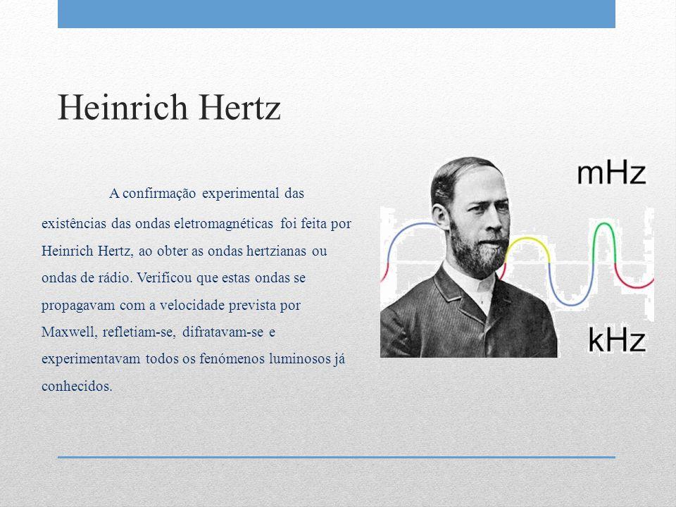 Heinrich Hertz A confirmação experimental das existências das ondas eletromagnéticas foi feita por Heinrich Hertz, ao obter as ondas hertzianas ou ond
