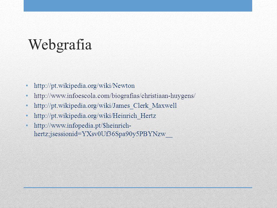 Webgrafia http://pt.wikipedia.org/wiki/Newton http://www.infoescola.com/biografias/christiaan-huygens/ http://pt.wikipedia.org/wiki/James_Clerk_Maxwel