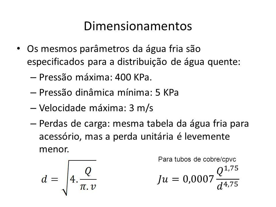 Dimensionamentos Os mesmos parâmetros da água fria são especificados para a distribuição de água quente: – Pressão máxima: 400 KPa. – Pressão dinâmica