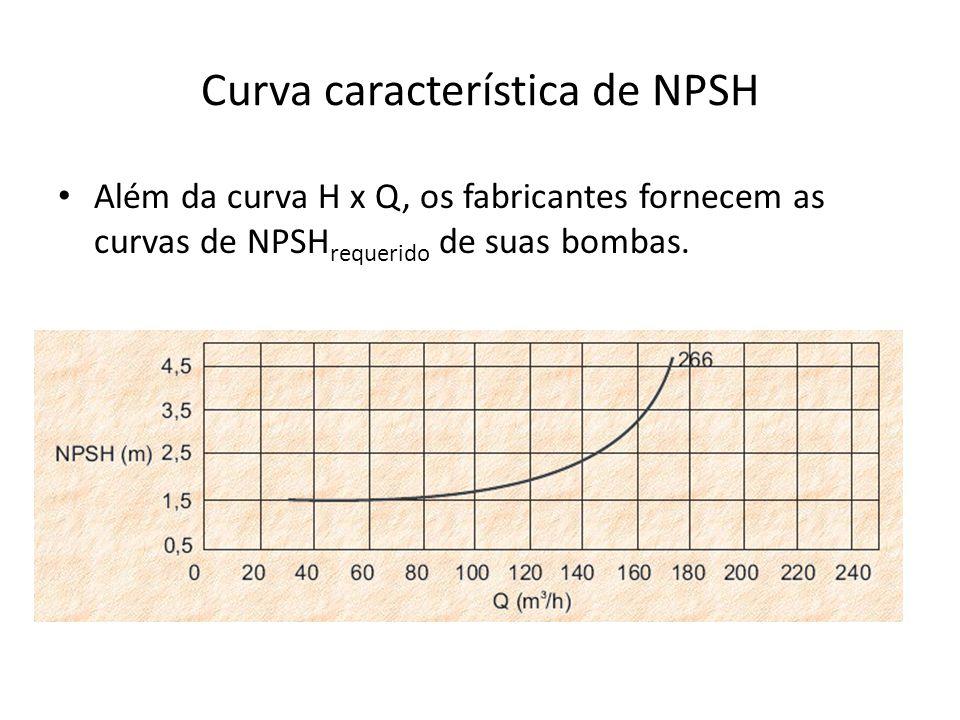 Curva característica de NPSH Além da curva H x Q, os fabricantes fornecem as curvas de NPSH requerido de suas bombas.