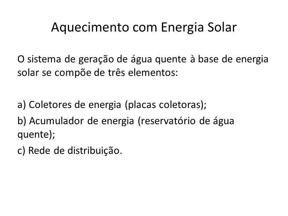 Aquecimento com Energia Solar O sistema de geração de água quente à base de energia solar se compõe de três elementos: a) Coletores de energia (placas coletoras); b) Acumulador de energia (reservatório de água quente); c) Rede de distribuição.
