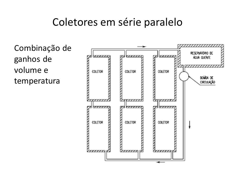 Coletores em série paralelo Combinação de ganhos de volume e temperatura