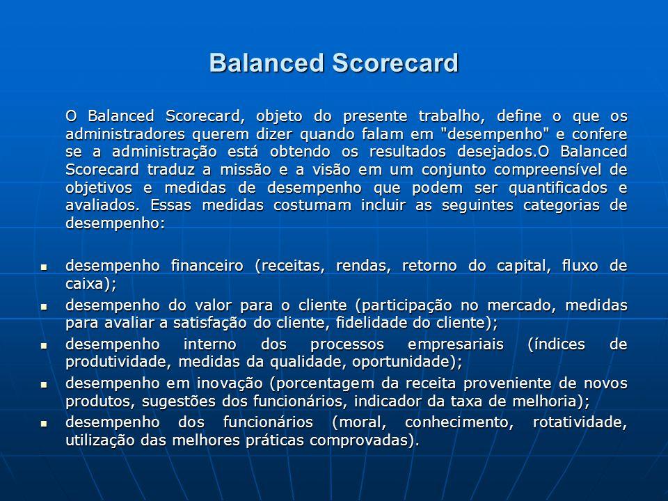 Balanced Scorecard O Balanced Scorecard, objeto do presente trabalho, define o que os administradores querem dizer quando falam em desempenho e confere se a administração está obtendo os resultados desejados.O Balanced Scorecard traduz a missão e a visão em um conjunto compreensível de objetivos e medidas de desempenho que podem ser quantificados e avaliados.