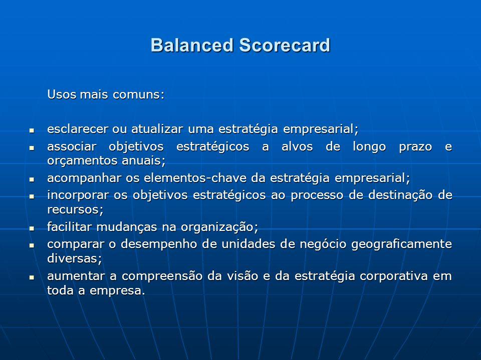 Balanced Scorecard Usos mais comuns: esclarecer ou atualizar uma estratégia empresarial; esclarecer ou atualizar uma estratégia empresarial; associar objetivos estratégicos a alvos de longo prazo e orçamentos anuais; associar objetivos estratégicos a alvos de longo prazo e orçamentos anuais; acompanhar os elementos-chave da estratégia empresarial; acompanhar os elementos-chave da estratégia empresarial; incorporar os objetivos estratégicos ao processo de destinação de recursos; incorporar os objetivos estratégicos ao processo de destinação de recursos; facilitar mudanças na organização; facilitar mudanças na organização; comparar o desempenho de unidades de negócio geograficamente diversas; comparar o desempenho de unidades de negócio geograficamente diversas; aumentar a compreensão da visão e da estratégia corporativa em toda a empresa.