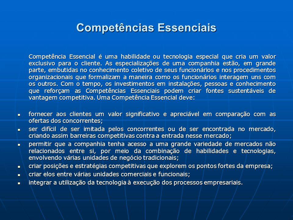 Competências Essenciais Competência Essencial é uma habilidade ou tecnologia especial que cria um valor exclusivo para o cliente.