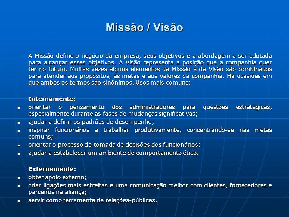 Missão / Visão A Missão define o negócio da empresa, seus objetivos e a abordagem a ser adotada para alcançar esses objetivos.