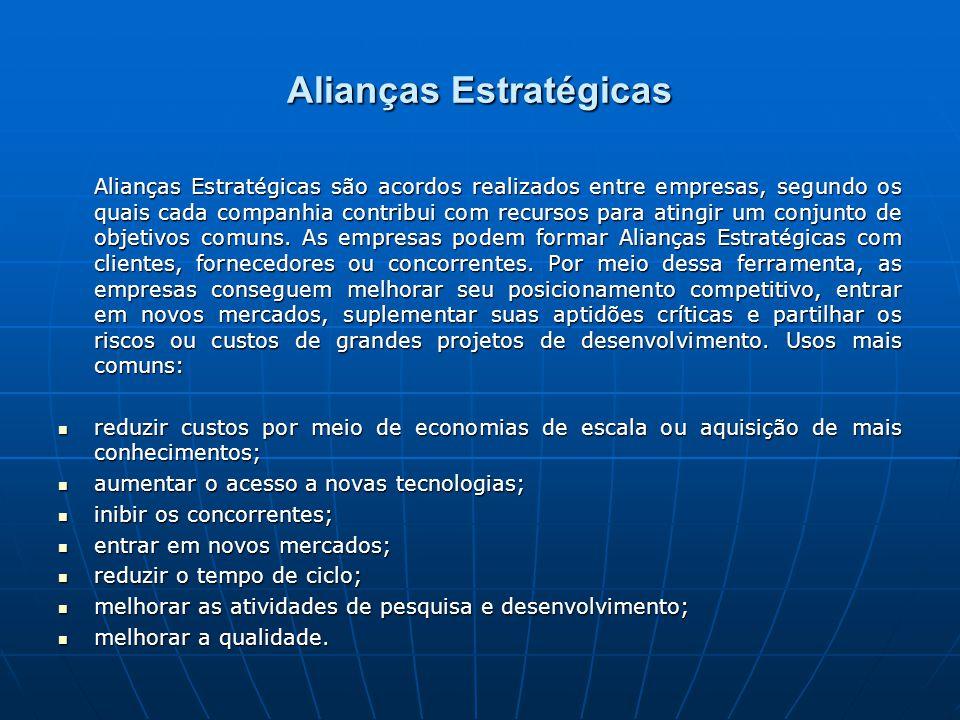 Alianças Estratégicas Alianças Estratégicas são acordos realizados entre empresas, segundo os quais cada companhia contribui com recursos para atingir um conjunto de objetivos comuns.