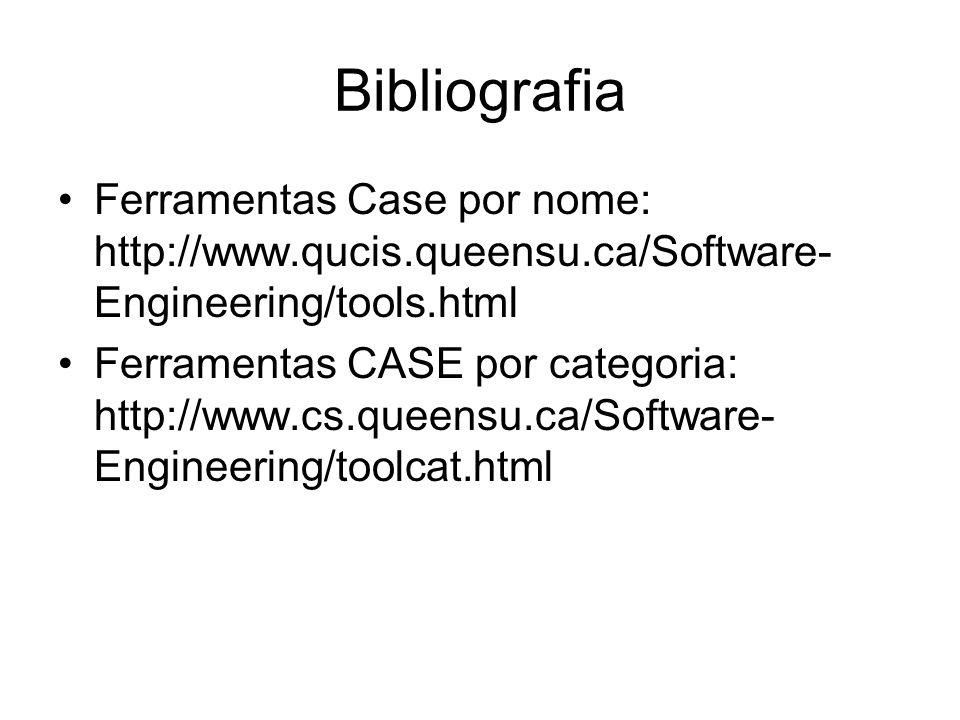 Bibliografia CASE Tools: Large System Development: http://linux.oreillynet.com/pub/a/linux/2002/ 08/01/enterprise.html UML, Metodologias e Ferramentas CASE: http://berlin.inesc.pt/alb/livros/uml/recursos -electronicos.htm
