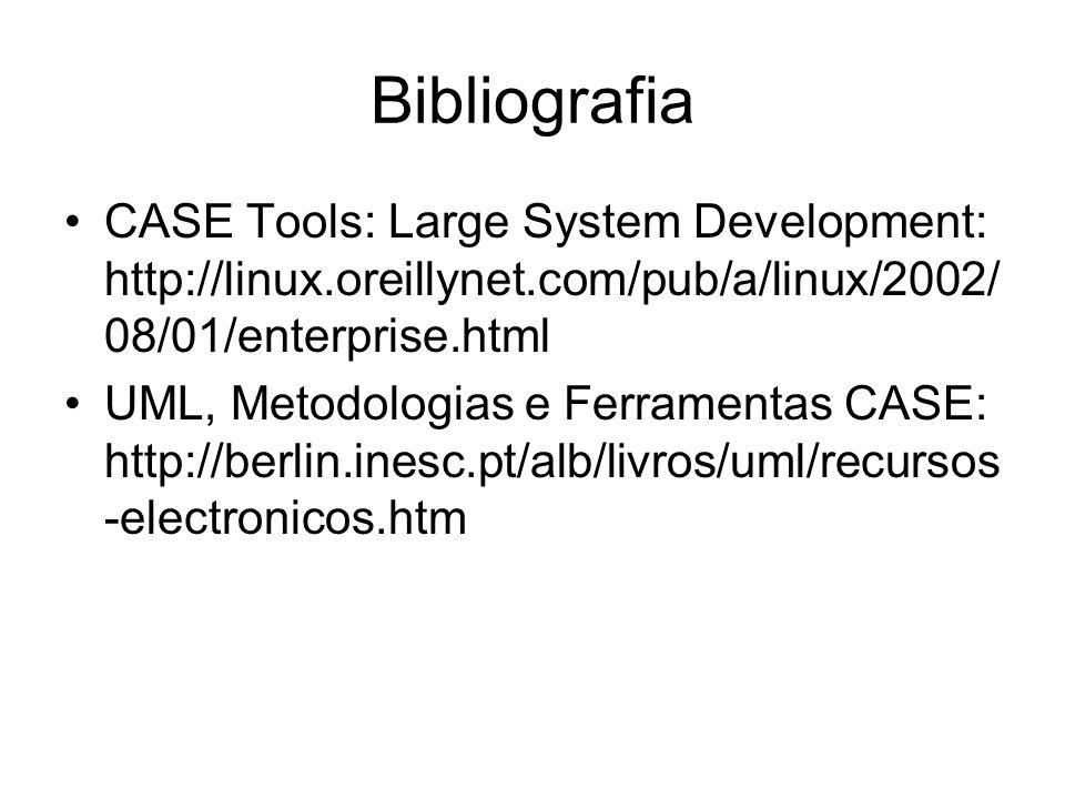 Bibliografia CASE Tools: Large System Development: http://linux.oreillynet.com/pub/a/linux/2002/ 08/01/enterprise.html UML, Metodologias e Ferramentas