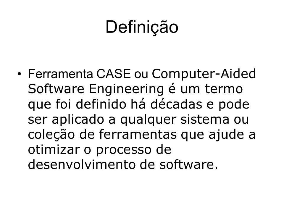 Definição Ferramenta CASE ou Computer-Aided Software Engineering é um termo que foi definido há décadas e pode ser aplicado a qualquer sistema ou coleção de ferramentas que ajude a otimizar o processo de desenvolvimento de software.