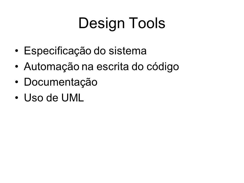 Design Tools Especificação do sistema Automação na escrita do código Documentação Uso de UML
