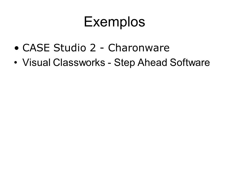 Exemplos CASE Studio 2 - Charonware Visual Classworks - Step Ahead Software