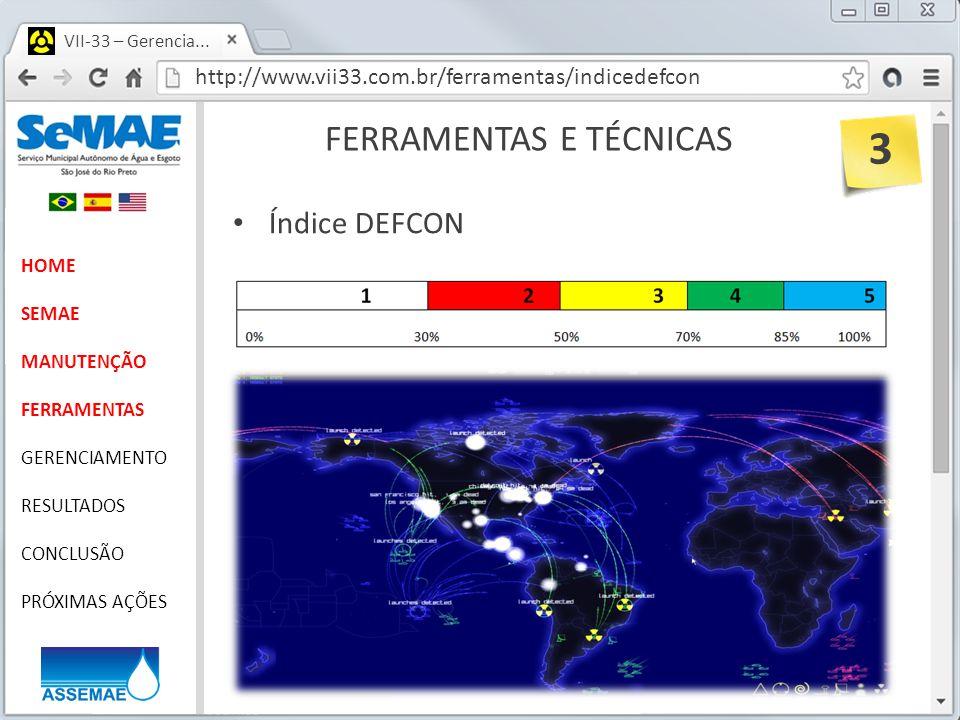 http://www.vii33.com.br/ferramentas/indicedefcon VII-33 – Gerencia... FERRAMENTAS E TÉCNICAS HOME SEMAE MANUTENÇÃO FERRAMENTAS GERENCIAMENTO RESULTADO
