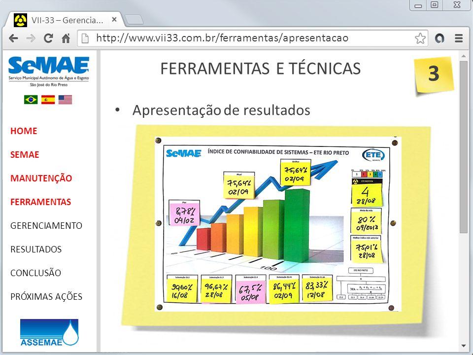 http://www.vii33.com.br/ferramentas/apresentacao VII-33 – Gerencia... FERRAMENTAS E TÉCNICAS HOME SEMAE MANUTENÇÃO FERRAMENTAS GERENCIAMENTO RESULTADO