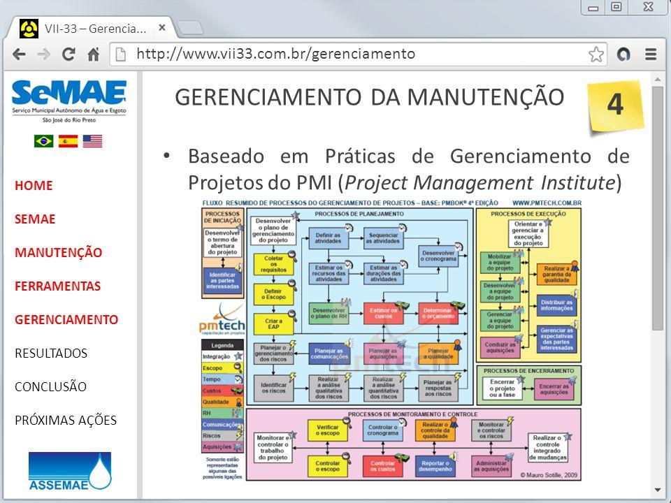 http://www.vii33.com.br/gerenciamento VII-33 – Gerencia... GERENCIAMENTO DA MANUTENÇÃO HOME SEMAE MANUTENÇÃO FERRAMENTAS GERENCIAMENTO RESULTADOS CONC