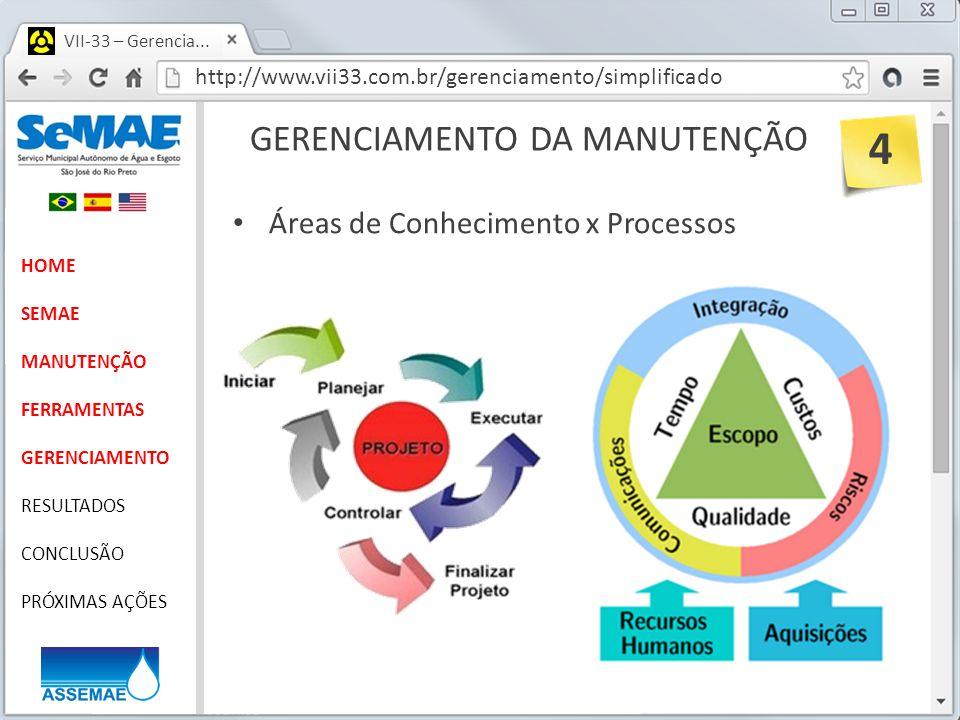 http://www.vii33.com.br/gerenciamento/simplificado VII-33 – Gerencia... GERENCIAMENTO DA MANUTENÇÃO HOME SEMAE MANUTENÇÃO FERRAMENTAS GERENCIAMENTO RE