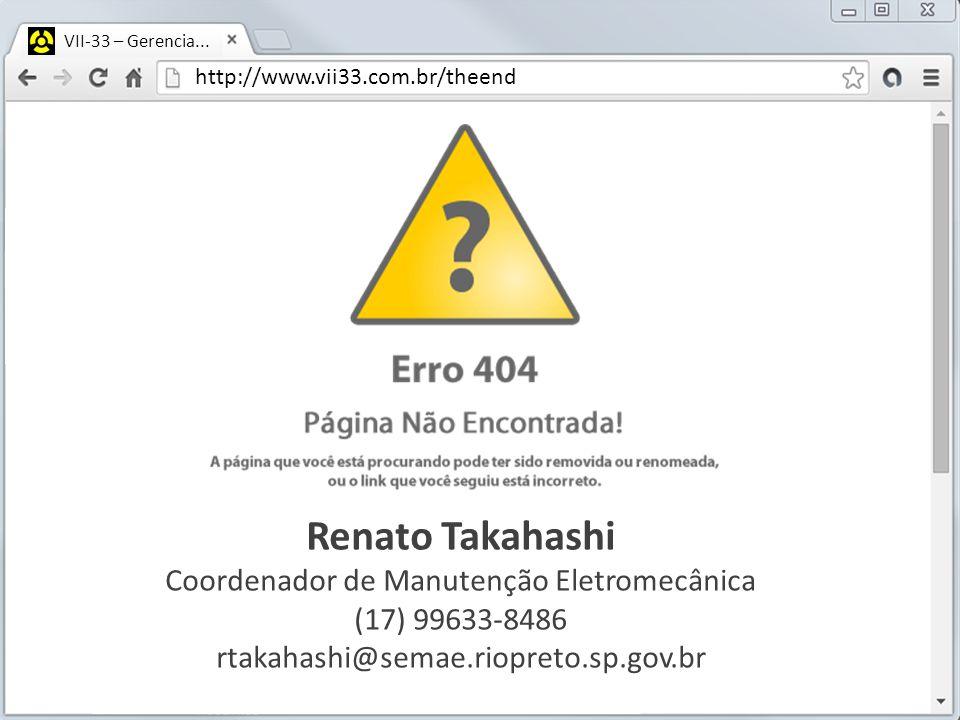 http://www.vii33.com.br/theend VII-33 – Gerencia... Renato Takahashi Coordenador de Manutenção Eletromecânica (17) 99633-8486 rtakahashi@semae.riopret