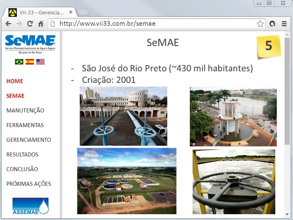 http://www.vii33.com.br/semae VII-33 – Gerencia... SeMAE HOME SEMAE MANUTENÇÃO FERRAMENTAS GERENCIAMENTO RESULTADOS CONCLUSÃO PRÓXIMAS AÇÕES -São José