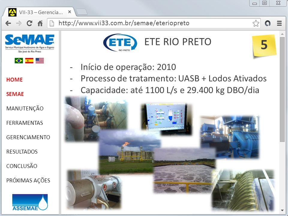 http://www.vii33.com.br/semae/eteriopreto VII-33 – Gerencia... ETE RIO PRETO HOME SEMAE MANUTENÇÃO FERRAMENTAS GERENCIAMENTO RESULTADOS CONCLUSÃO PRÓX