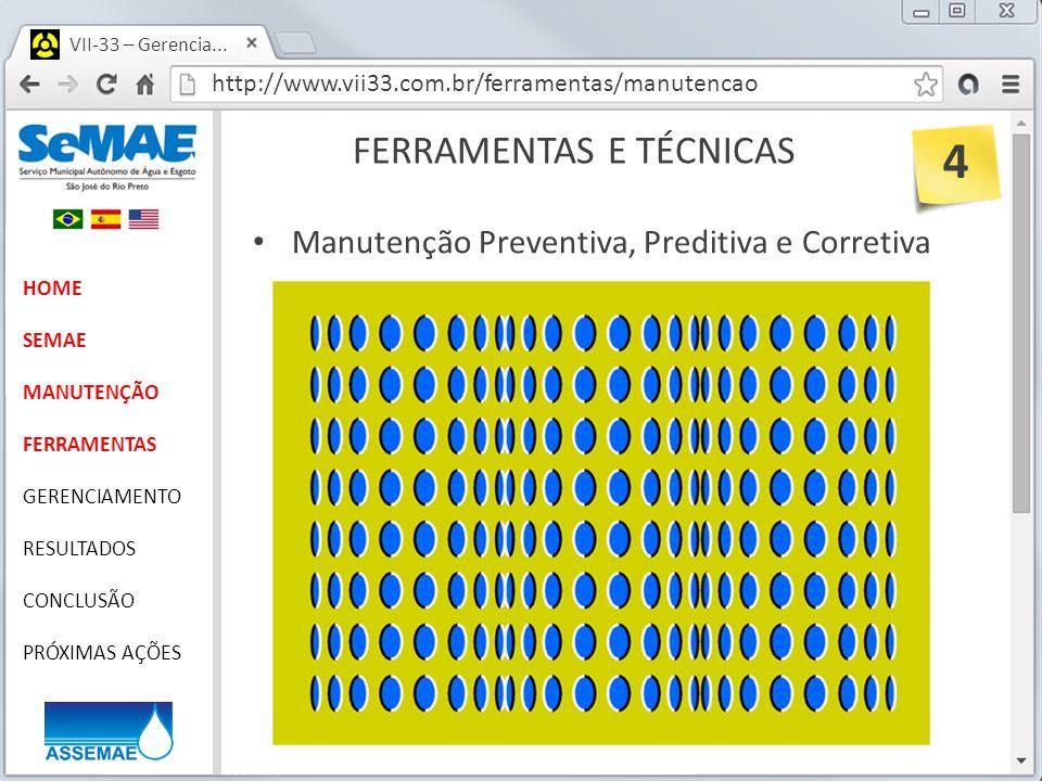 http://www.vii33.com.br/ferramentas/manutencao VII-33 – Gerencia... FERRAMENTAS E TÉCNICAS HOME SEMAE MANUTENÇÃO FERRAMENTAS GERENCIAMENTO RESULTADOS