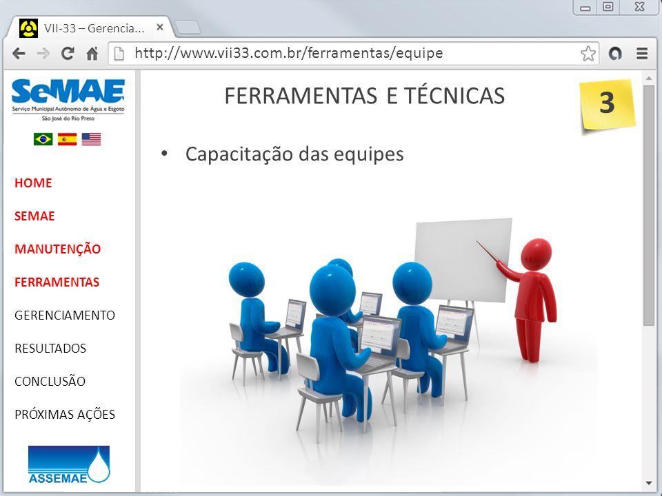 http://www.vii33.com.br/ferramentas/equipe VII-33 – Gerencia... FERRAMENTAS E TÉCNICAS HOME SEMAE MANUTENÇÃO FERRAMENTAS GERENCIAMENTO RESULTADOS CONC