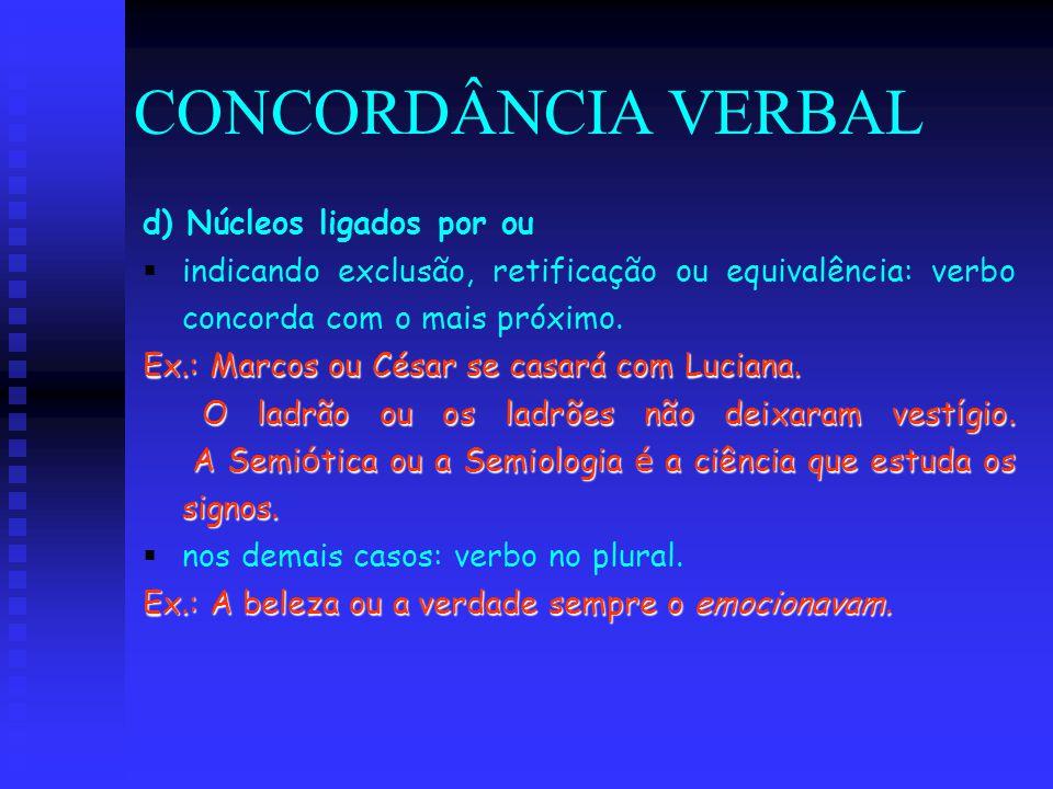 CONCORDÂNCIA VERBAL d) Núcleos ligados por ou   indicando exclusão, retificação ou equivalência: verbo concorda com o mais próximo. Ex.: Marcos ou C