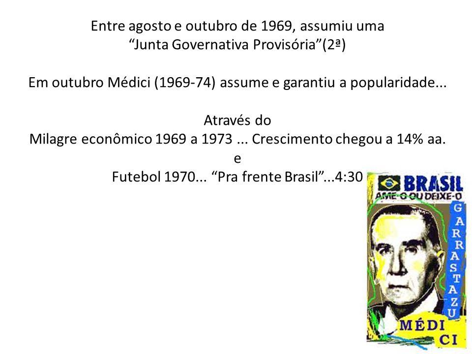 """Entre agosto e outubro de 1969, assumiu uma """"Junta Governativa Provisória""""(2ª) Em outubro Médici (1969-74) assume e garantiu a popularidade... Através"""