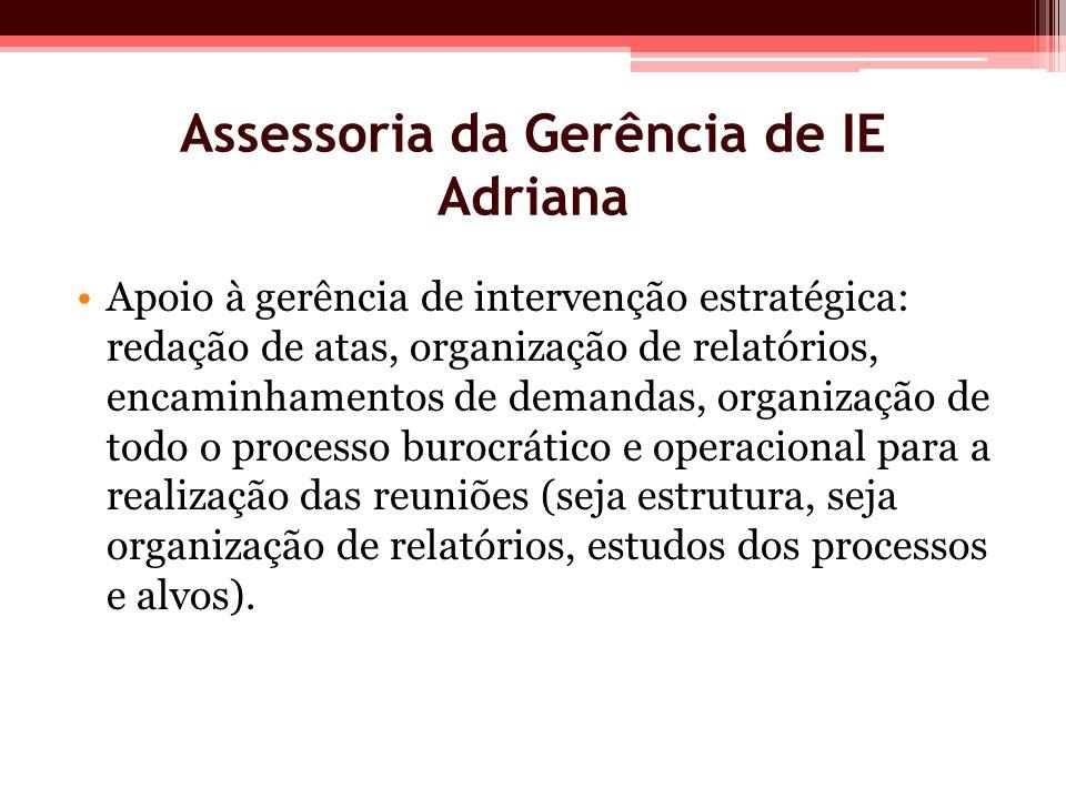 Assessoria da Gerência de IE Adriana Apoio à gerência de intervenção estratégica: redação de atas, organização de relatórios, encaminhamentos de deman
