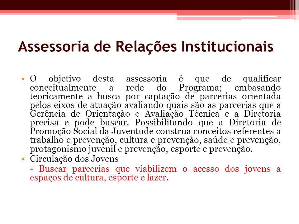 Assessoria de Relações Institucionais O objetivo desta assessoria é que de qualificar conceitualmente a rede do Programa; embasando teoricamente a bus