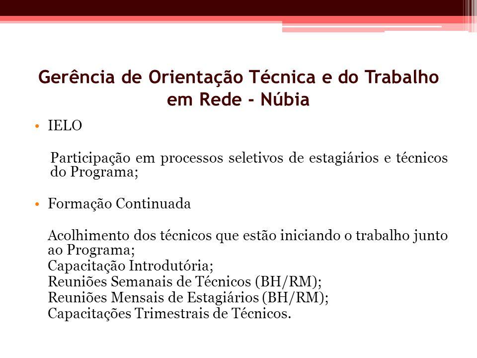 Gerência de Orientação Técnica e do Trabalho em Rede - Núbia IELO Participação em processos seletivos de estagiários e técnicos do Programa; Formação