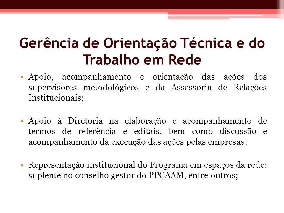 Gerência de Orientação Técnica e do Trabalho em Rede Apoio, acompanhamento e orientação das ações dos supervisores metodológicos e da Assessoria de Re