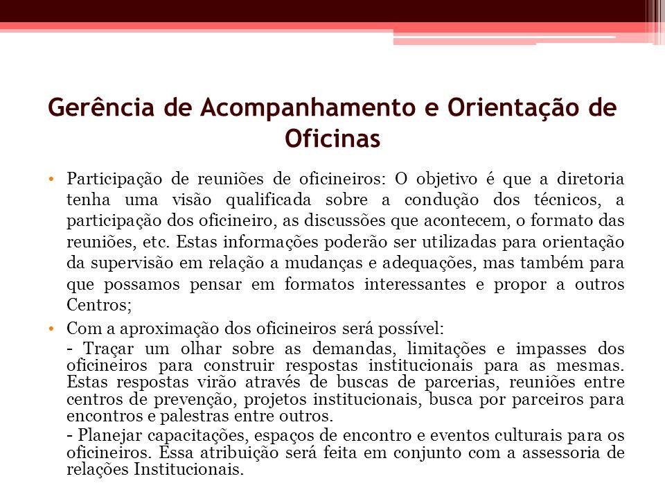 Gerência de Acompanhamento e Orientação de Oficinas Participação de reuniões de oficineiros: O objetivo é que a diretoria tenha uma visão qualificada