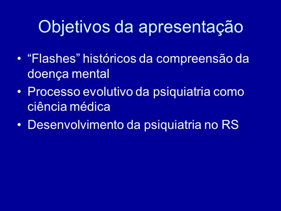"""Objetivos da apresentação """"Flashes"""" históricos da compreensão da doença mental Processo evolutivo da psiquiatria como ciência médica Desenvolvimento d"""