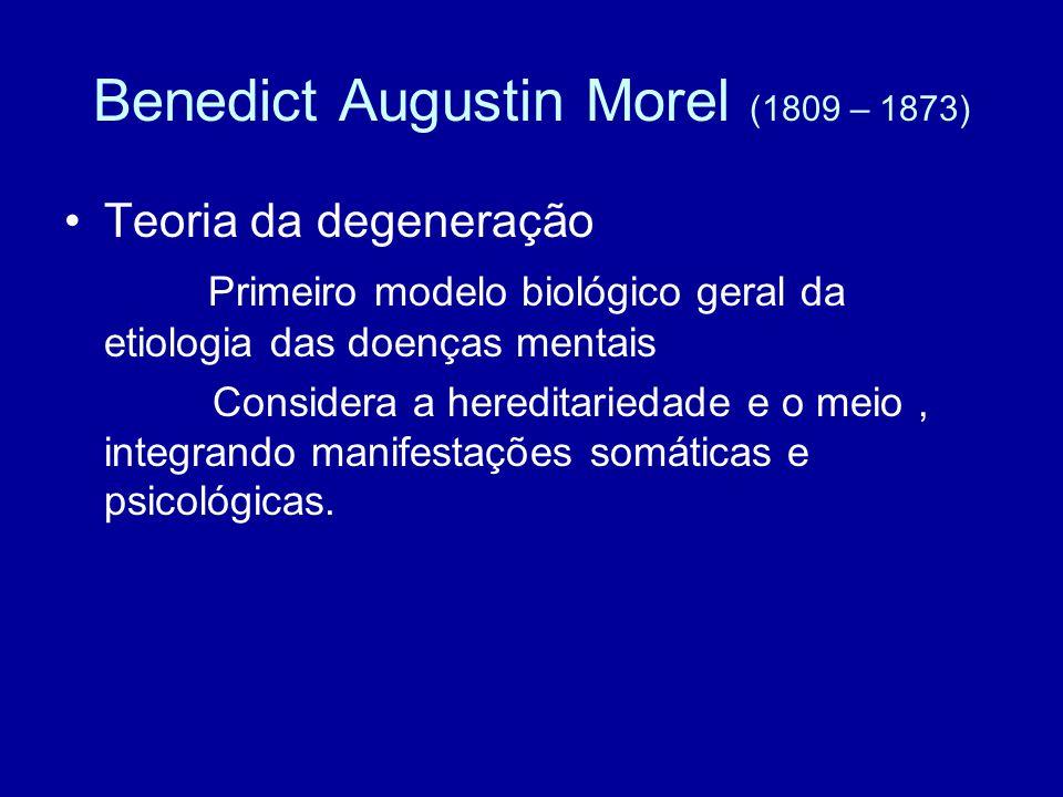 Benedict Augustin Morel (1809 – 1873) Teoria da degeneração Primeiro modelo biológico geral da etiologia das doenças mentais Considera a hereditarieda
