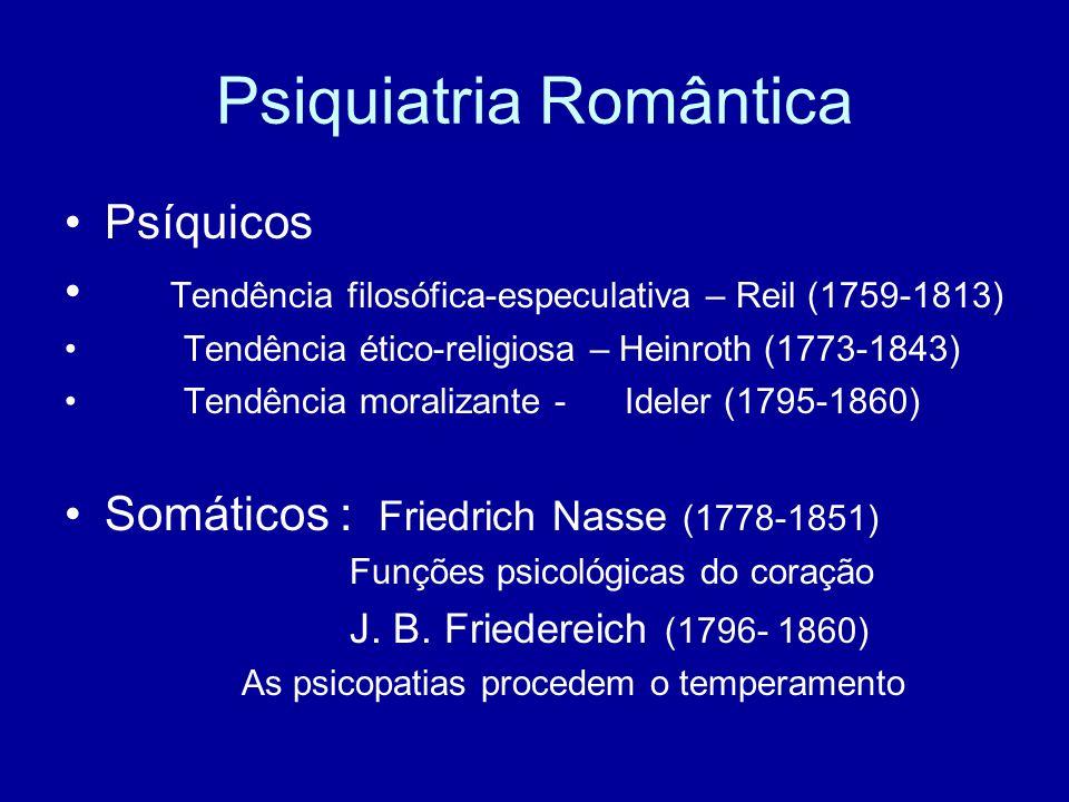 Psiquiatria Romântica Psíquicos Tendência filosófica-especulativa – Reil (1759-1813) Tendência ético-religiosa – Heinroth (1773-1843) Tendência morali
