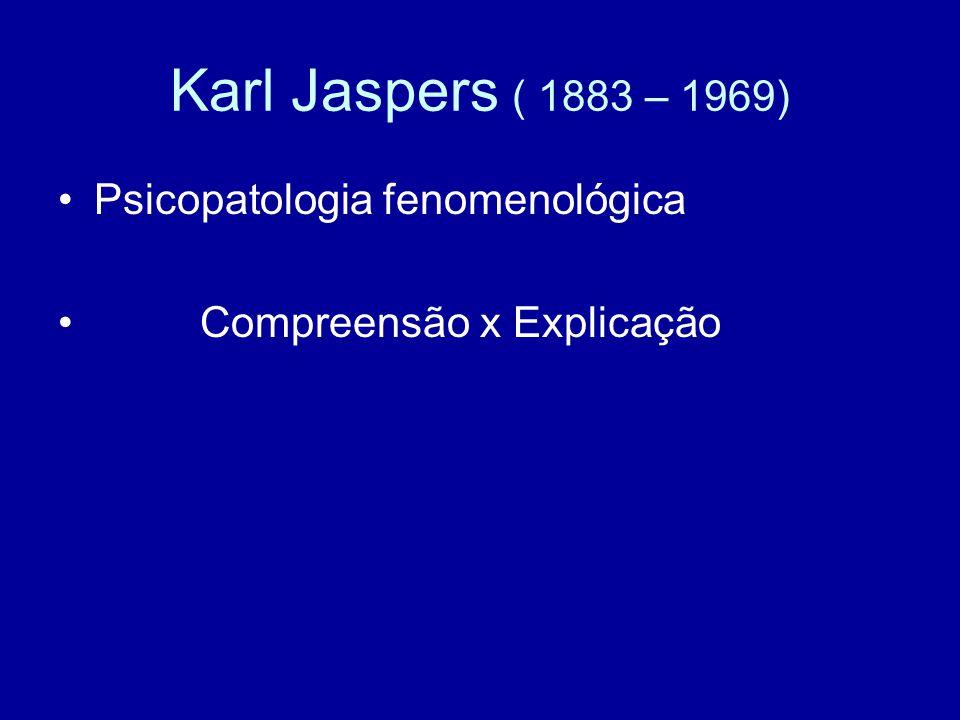 Karl Jaspers ( 1883 – 1969) Psicopatologia fenomenológica Compreensão x Explicação