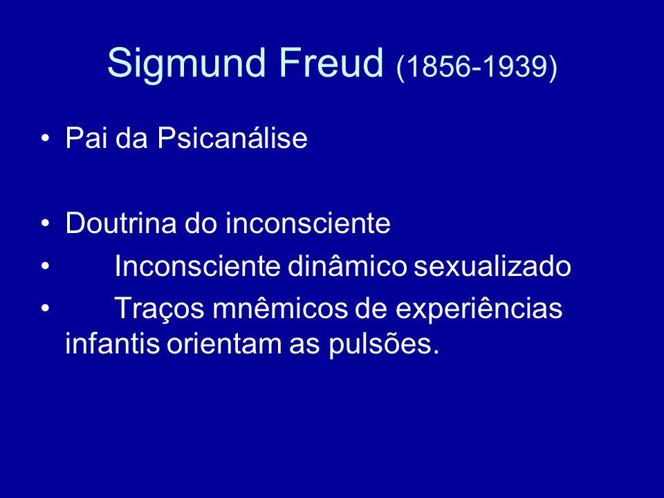 Sigmund Freud (1856-1939) Pai da Psicanálise Doutrina do inconsciente Inconsciente dinâmico sexualizado Traços mnêmicos de experiências infantis orien